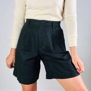 [vintage] Black High Waisted Linen Blend Shorts